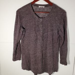 Aritzia Community linen Henley long sleeve t-shirt